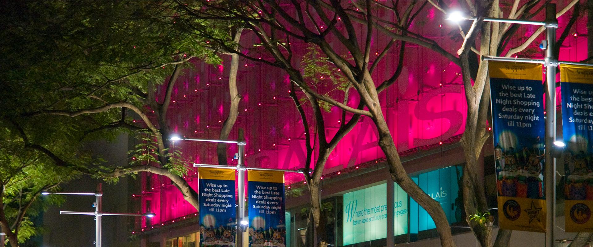 lampioni LED distretto shopping