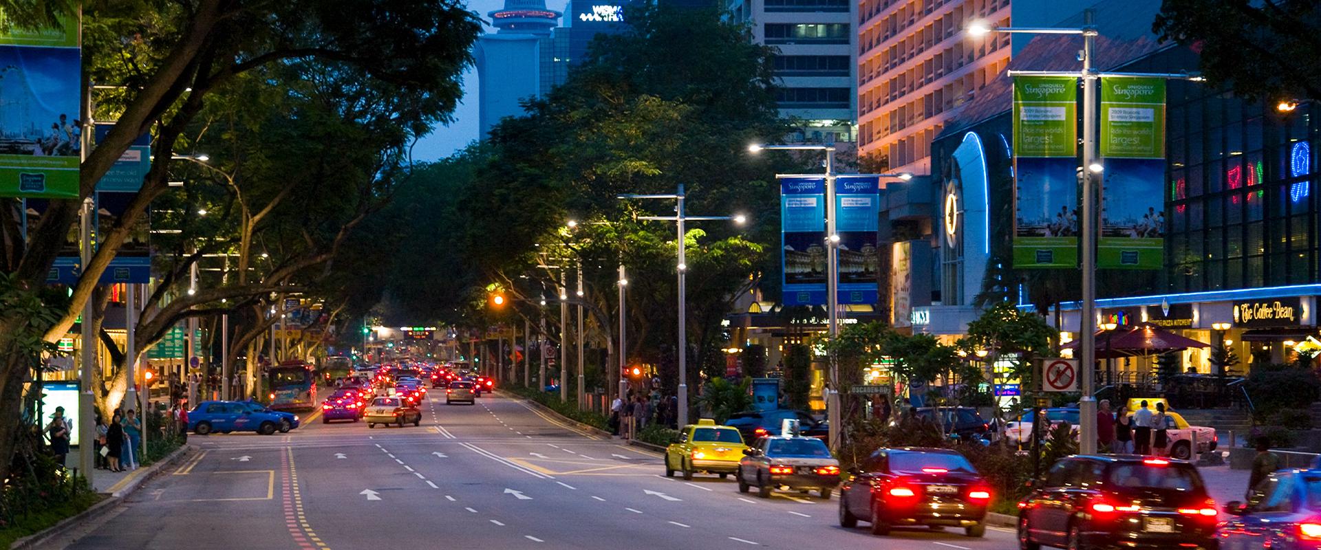 Illuminazione LED distretto commerciale