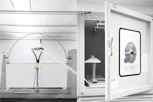 Test IP ingresso polvere e liquidi presso i laboratori di AEC Illuminazione